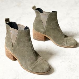 Toms Esme Olive Green Leather Suede Ankle Boot 7